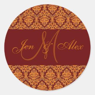 Fall Wedding Names & Monogram Gold Orange Sticker