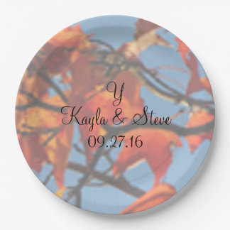 Fall Wedding Photo Background Names Date Monogram 9 Inch Paper Plate