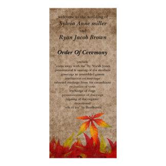 fall Wedding program Customized Rack Card