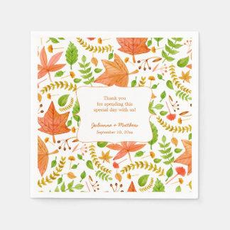 Fall wedding reception napkins / thank you message paper napkin