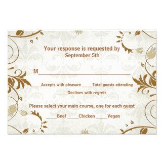 Fall Wedding Response and Meal Choice Card