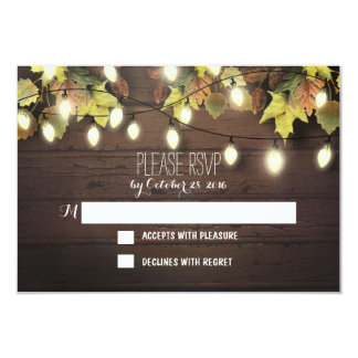 Fall wedding RSVP cards with twinkle lights