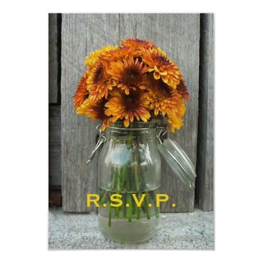 Fall Wedding RSVP: Mason Jar Flowers & Barnwood 9 Cm X 13 Cm Invitation Card