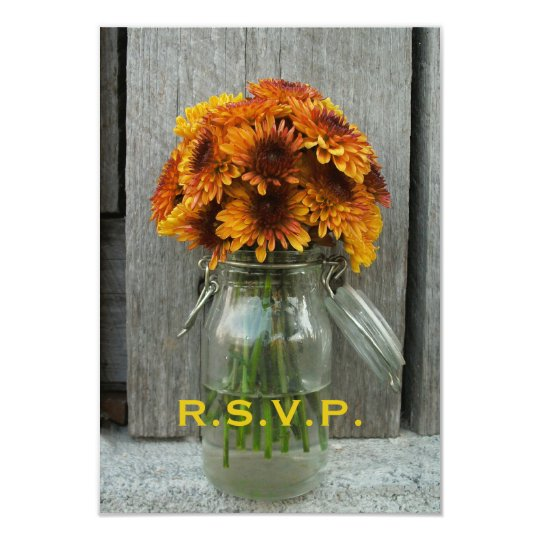Fall Wedding RSVP: Mason Jar Flowers & Barnwood Card
