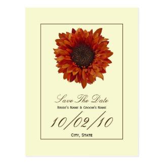 Fall Wedding Save The Date Postcard- Autumn Flower Postcard