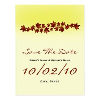 Fall Wedding Save The Date Postcard- Autumn Leaves Postcard