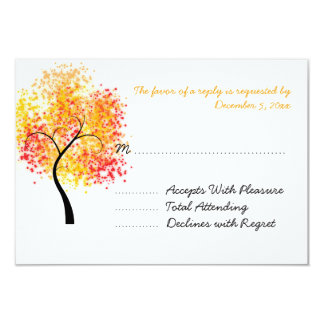 Fall Wedding Swirly Tree Wedding RSVP Card
