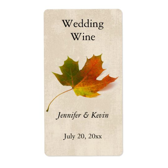 Fall Wedding Wine Label Shipping Label