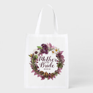 Fall Wedding Wreath Plum Mother of Bride ID465 Reusable Grocery Bag