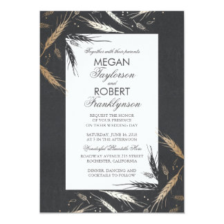 Fall Wheat Gold Foil Effect Chalkboard Wedding Card