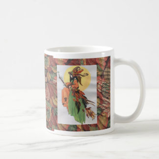 fall witch collage with leaves coffee mug