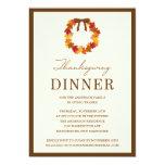 FALL WREATH IN BROWN   THANKSGIVING DINNER INVITE 13 CM X 18 CM INVITATION CARD
