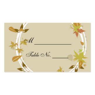 Fall Wreath Monogram Wedding Place Cards Business Cards