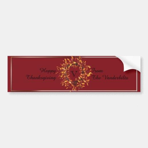 Fall Wreath Monogram Wine Bottle Label Bumper Stickers
