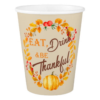 Fall Wreath Thanksgiving Paper Cup