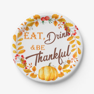 Fall Wreath Thanksgiving Paper Plate