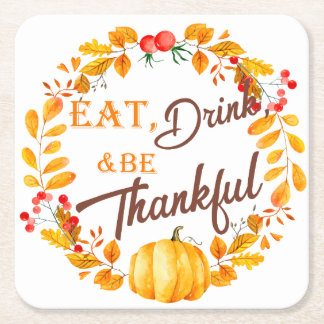 Fall Wreath Thanksgiving Square Paper Coaster