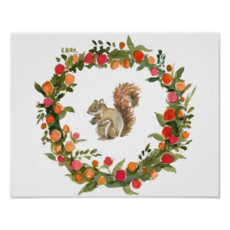 Fall wreath with squirrel watercolour poster