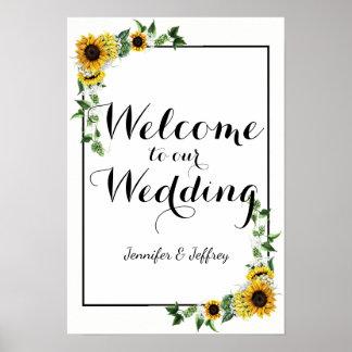 Fall Yellow Sunflower Rustic Barn Wedding Poster