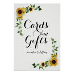 Fall Yellow Sunflower Rustic Barn Wedding Poster