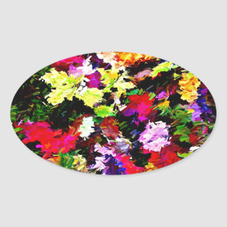 Fallen Autumn Leaves Abstract Oval Sticker