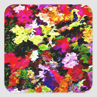 Fallen Autumn Leaves Abstract Square Sticker