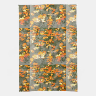 fallen autumn leaves in rain tea towel