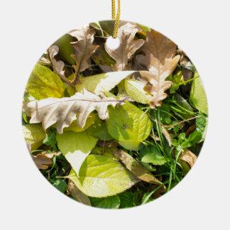 Fallen autumn leaves on green grass lawn ceramic ornament