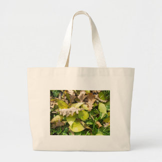 Fallen autumn leaves on green grass lawn large tote bag