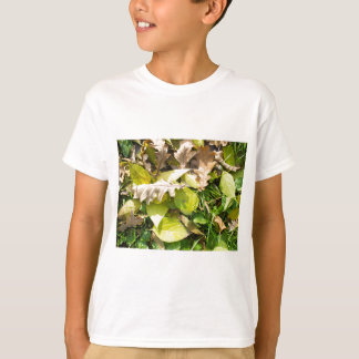 Fallen autumn leaves on green grass lawn T-Shirt