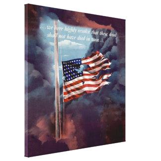 Fallen But Not Forgotten Smoke and Torn Flag Canvas Prints