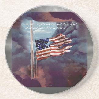 Fallen But Not Forgotten Smoke and Torn Flag Drink Coaster