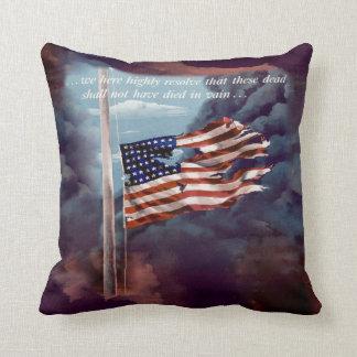 Fallen But Not Forgotten Smoke and Torn Flag Pillows
