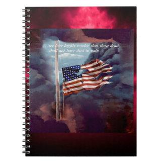 Fallen But Not Forgotten Smoke and Torn Flag Spiral Notebook