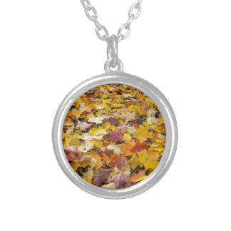 Fallen Fall Color Leaves on Parks Ground Silver Plated Necklace