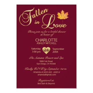 Fallen in Love Autumn Burgundy Red Bridal Shower Card