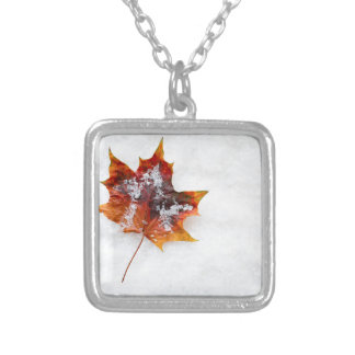 Fallen Leaf in the Snow Square Pendant Necklace