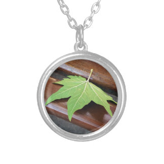 fallen leaf silver plated necklace