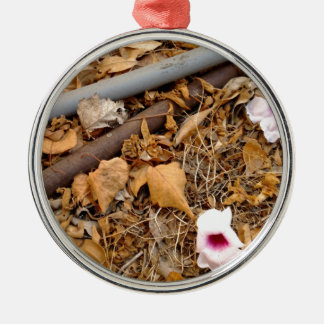 Fallen Leaves & Flowers on the Dirt Silver-Colored Round Decoration