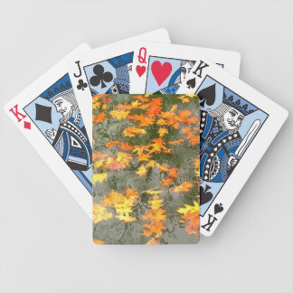 fallen leaves in autumn rain bicycle playing cards