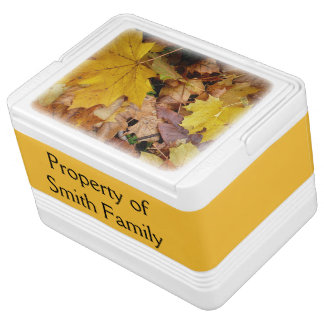 Fallen Maple Leaves Yellow Autumn Nature Cooler