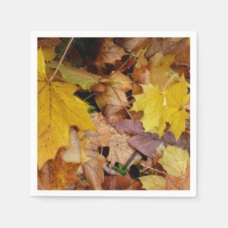 Fallen Maple Leaves Yellow Autumn Nature Disposable Serviette