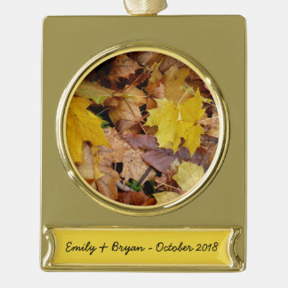 Fallen Maple Leaves Yellow Autumn Nature Gold Plated Banner Ornament