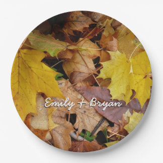 Fallen Maple Leaves Yellow Autumn Nature Paper Plate