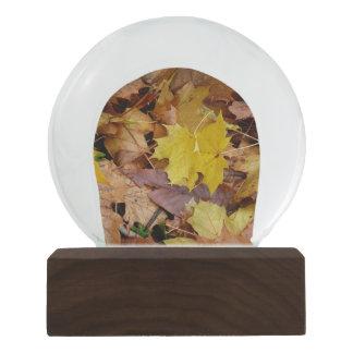 Fallen Maple Leaves Yellow Autumn Nature Snow Globe