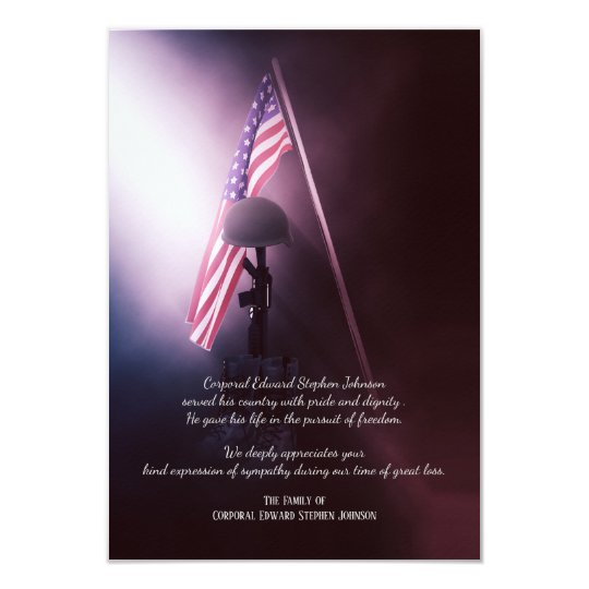 Fallen Soldier Funeral Thank You Cards