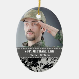 Fallen Soldier with black and white digital camo Ceramic Ornament