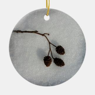 fallen twig ceramic ornament