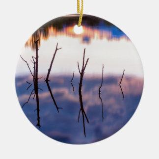 Fallen Twiggy Reflections Ceramic Ornament