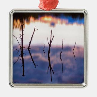 Fallen Twiggy Reflections Metal Ornament